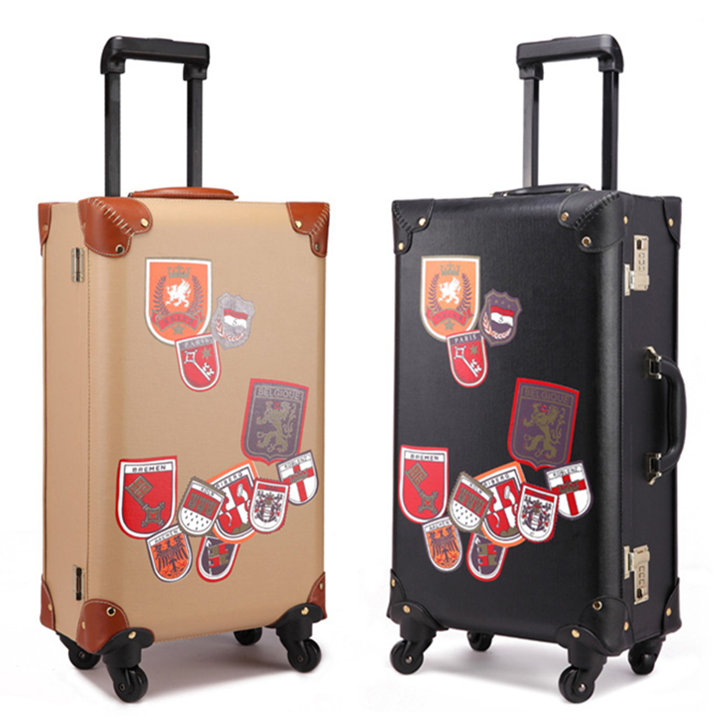 Vintage 24inch universal wheel retro uk style suitcase vintage trolley luggage travel bag trolley female male fashion pull box