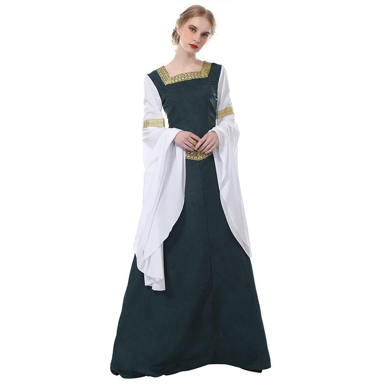 Medieval Renaissance Dress Women Green Gothic Victorian Costume Dress Ball Gown Scottish Irish Dress Halloween Cosplay Costume