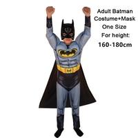 Adult MAN SuperHero Spiderman Batman Superman American Captain Hulk Thor iron Man Muscle Costume+Mask for Halloween Party Show