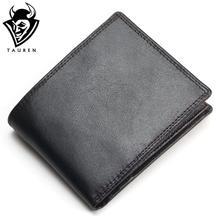 TAUREN 2017 New Men Wallet 100% Genuine Leather Crazy Horse Zippper Coin Pocket Top Grain Cow Leather Wallet Men