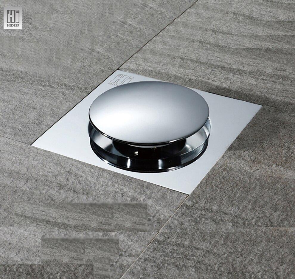 HIDEEP Bounce Type Floor Drain Cover Washing Drainer Dedicated Shower Floor Grate Drain Brass Bathroom Kitchen Accessory