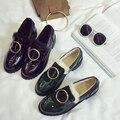 Новый 2017 Desinger Бренд Пряжки Женская Обувь Лакированная Кожа Британский квартиры Меховые Обувь Женщина Бездельники Скольжения На Черный Army Green Sapato