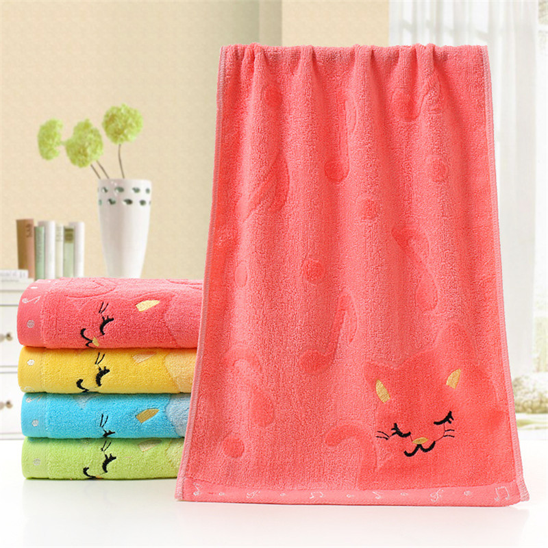 1PC 25*50cm Pink Childrens Cartoon Cat Note Towel Bamboo Fiber Thicken Water-Absorption Face Towel Quick-Dry Hair Shower Towels