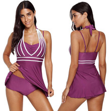 Striped conservative hanging neck backless plus fertilizer to increase the ladies split swimsuit free shipping
