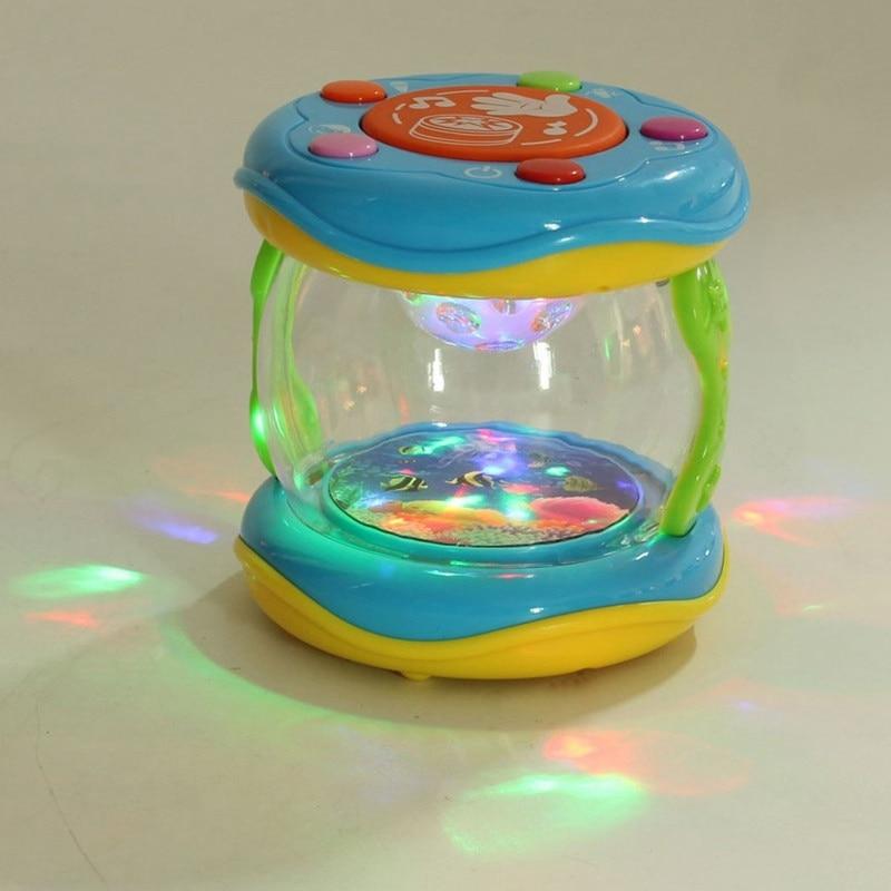 Funny Children Infant Toys Mini Magic Hand Drum Beat LED Music Early Childhood Educational Learning Developmental Baby Rattles