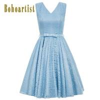 Bohoartist Vintage Dress 1950s Lace Up Floral Solid Blue A Line Bow V Neck Sexy Back