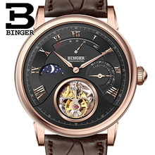 Switzerland BINGER Watches Men Luxury Seagull Automatic Movemt Watch Male Tourbillon Sapphire Alligator Hide Mechanical 80801-4