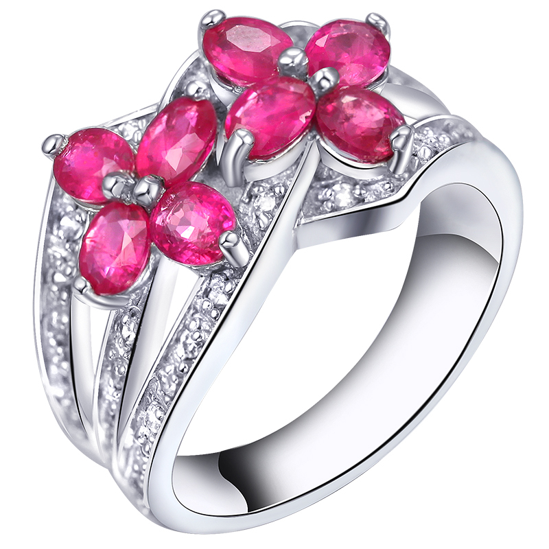 Natural Pink Ruby Ring Flower In 925 Sterling Silver Fancy Sapphire Jewelry Fashion Eleg ...
