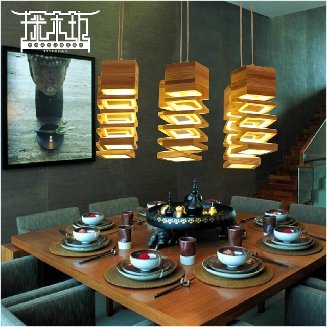 Good [Square] Exploration Wooden Living Room Dining Modern Minimalist LED  Light Bar Creative Wooden
