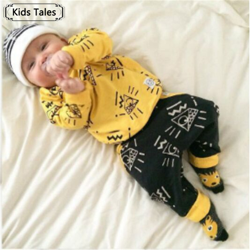 2018 Newborn baby boy clothes baby clothes unisex yellow color long-sleeved shirt+ pants 2 pcs. bebe girl clothing set ST205 2018 limited newborn clothes yingzifang baby girl clothing infant cotton 3 pcs set clothes long sleeved floral t shirt pants
