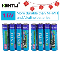 KENTLI 8pcs No Memory Effect 1 5v 1180mWh AAA Polymer Lithium Li Ion Rechargeable Batteries Aa