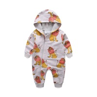 Baby Boy Clothes Newborn Long Sleeve Hooded Jumpsuit Spring Lion Pattern Infant Baby Boy Girl Brand