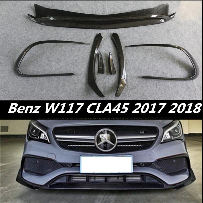 Carbon Fiber Front Car Lip Splitters Bumper Aprons Cup Wings Flaps For BENZ W117 CLA Class CLA45 2017 2018 2019