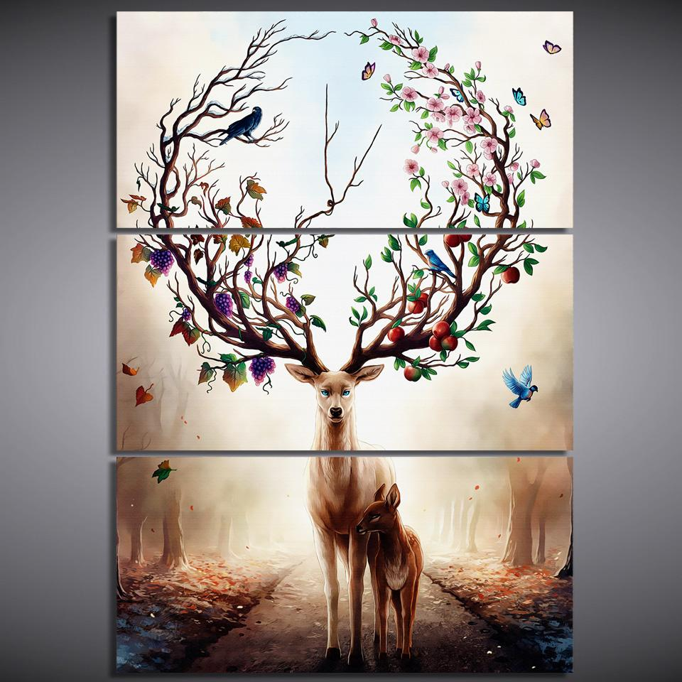 HD print 3pcs DREAM FOREST ELK deer painting home decor wall art picture print painting on canvas for living room decor /PT1424