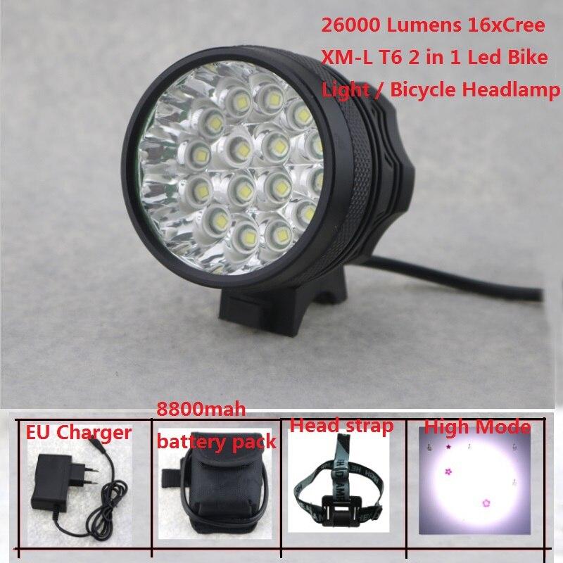 16 светодиодов велосипед light 26000 люмен 16x CREE XML T6 светодиодный Велоспорт фар MTB дорожный велосипед лампа + 8.4 В 18650 аккумулятор + зарядное устройс…