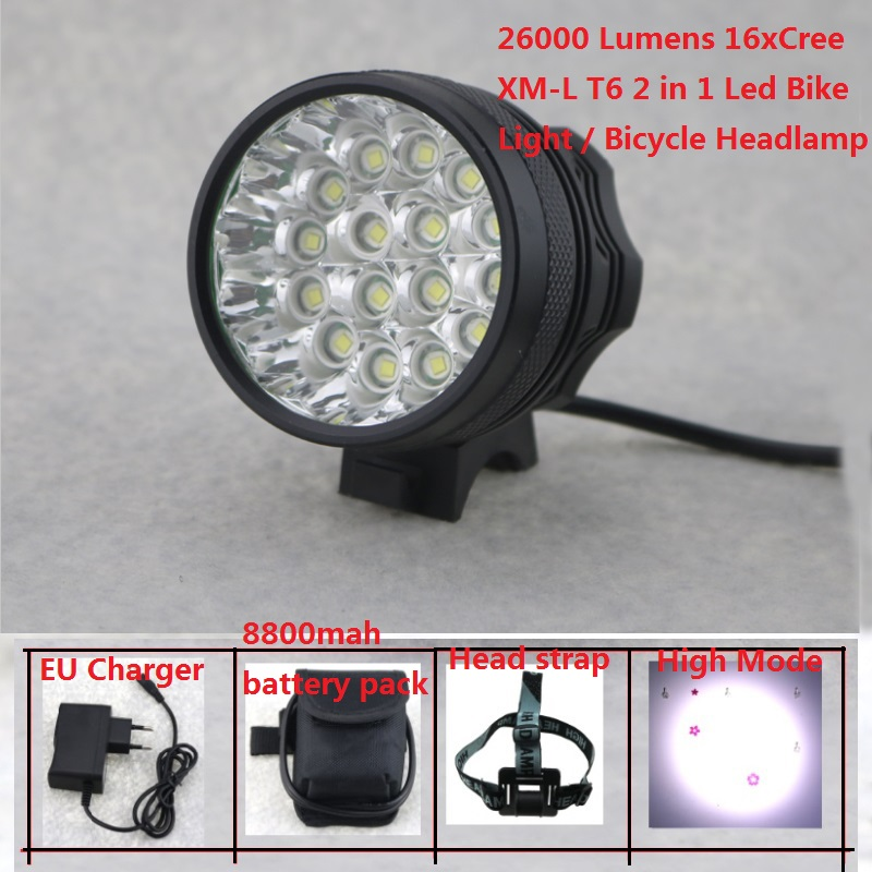 16Leds Bicycle Light 26000 Lumens 16x Cree XML T6 Led Cycling Headlight MTB Road Bike Lamp + 8.4V 18650 Battery Pack + Charger waterproof 2000 lumen led cree xml2 u2 led cycling bicycle bike usb 18650 light lamp headlight headlamp headlight strips charger