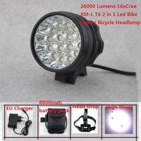 16Leds Bicycle Light 26000 Lumens 16x Cree XML T6 Led Cycling Headlight MTB Road Bike Lamp + 8.4V 18650 Battery Pack + Charger