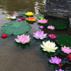 1 pçs artificial lótus água lírio flutuante flor lagoa tanque planta ornamento 10cm casa jardim lagoa decoração