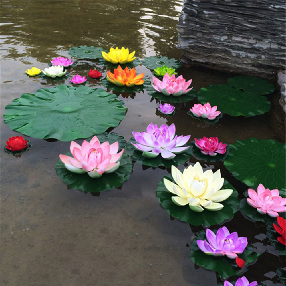 1Pc Artificial Lotus Water Lily Floating Flower Pond Tank Plant Ornament 10cm Home Garden Pond Decoration artificial floating