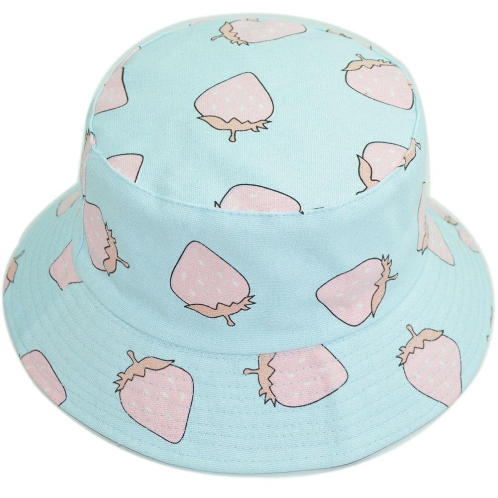Women Bucket Hat Kawaii Strawberry Cot Reversible Hats for Girls Casual  Spring Fall Cap Drop Shipping 2d51c827153