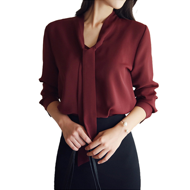 f28c2aaa5ac4 Temperament Elegant Office Chiffon Blouse Bow Ribbon Long Sleeve Women s  Shirt Summer Solid Pullover Top Female Chiffon Blouse