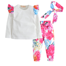 купить 3Pcs/Set! 2017 baby girl clothes fashion long sleeve t shirt+Flower pants+Headband newborn infant suit baby girls clothing set дешево