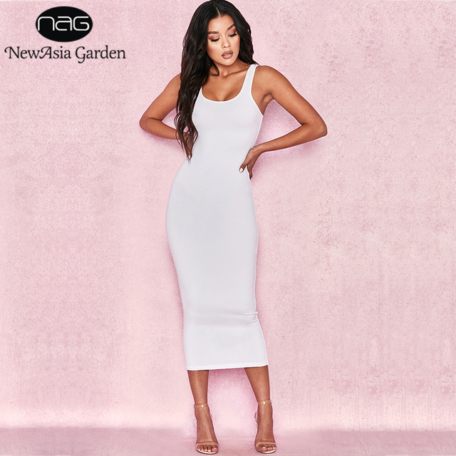 9f47e0de8a53 NewAsia Garden 2 Layers Cotton Summer Dress Women Long Dress Sexy Tight Bodycon  Dress Midi Club Ladies Dresses White Vestidos