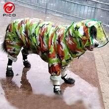 Fashion Pet rain coat large dog waterproof Jumpsuit Pet all-inclusive camouflage raincoats XS-4XL big dogs clothes poncho ZL281
