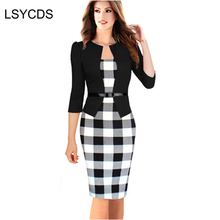 LSYCDS 2017 Womens Elegant Three Quarter Sleeve Cotton Blends Patchwork with Sashes Wear to Work Pencil Office Dress Suits