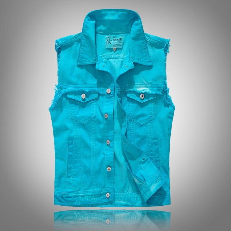 Lake Blue Denim   Tank     Tops   Men Jeans Vest Solid Color Casual Hip Hop Slim Fit   Tank   2018 Fashion Streetwear Clothes for Men S050