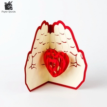 Valentines Day Gift Love in the Hand 3D Pop up Greeting Card Postcard Matching Envelope Laser Cut Handmade Birthday Post Card(China)