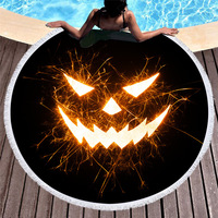 3d Digital Printing Halloween Grimace Beach Towel Black Gold Eyes Soft Round Big Beach Towels Home Decorations Gift Yoga Mat