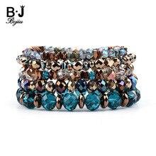 BOJIU 5 Pcs/Set Hot Elastic Crystal Charm Bracelets For Women Trendy Colorful Hematite Copper Nuggets Bracelet BCSET212