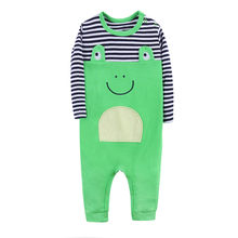 Winter Autumn Newborn Baby Boy&Girl Long Sleeve Round Neck Cartoon Frog Stripe Romper Jumpsuit Outfits Cotton Playsuit(China)
