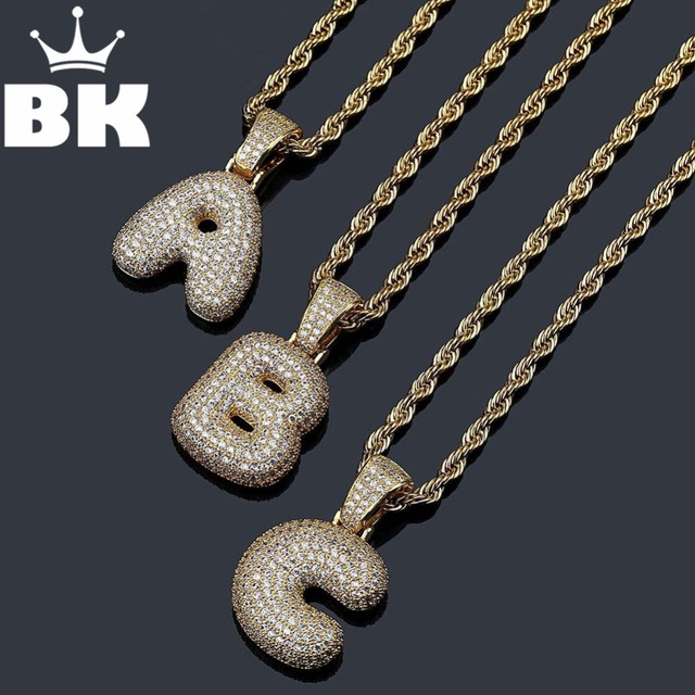 Bling CZ Custom Small Bubble Letters Pendant with Rope Chain Copper A-Z Initial
