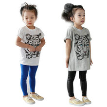 Summer Fashion Baby Girls Kids Korean Style Tiger Animal Printed Casual Short Sleeve T-shirt Cotton Shirt Clothes