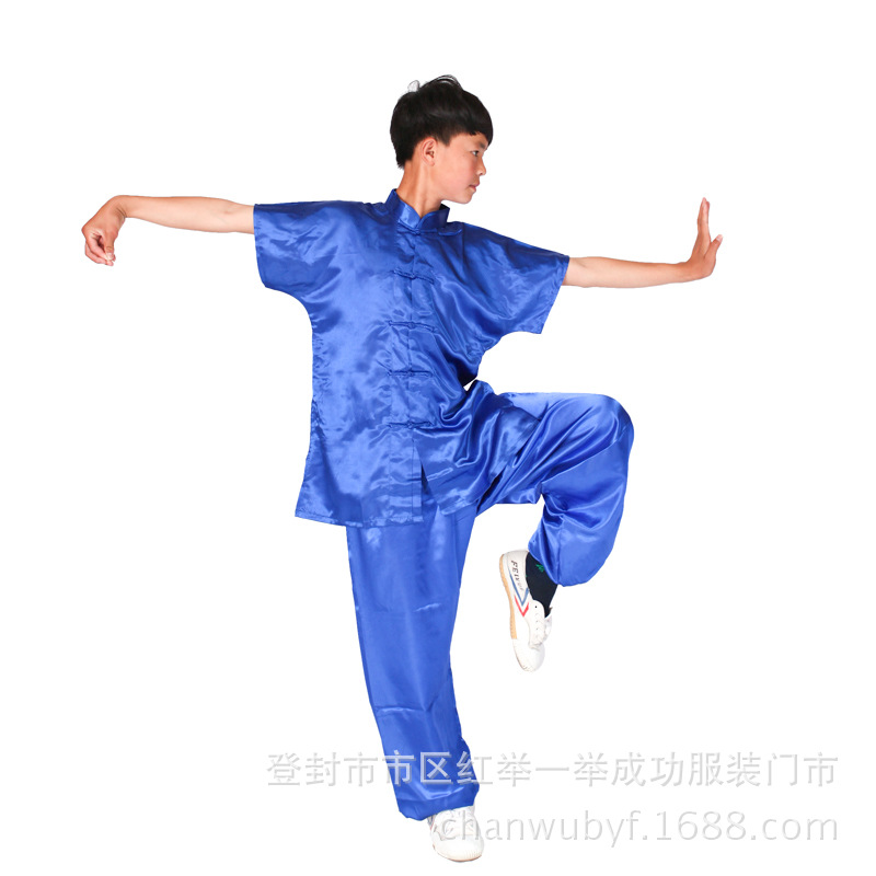 Simulation style Taiji clothing for male and female short sleeved martial arts training clothes for children A martial art
