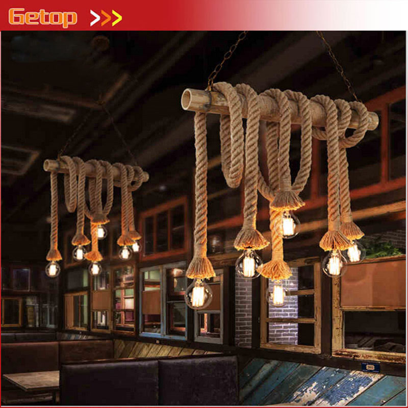 ZX American Industrial LED Lamp Vintage Hemp Rope Pendant Light Loft Creative Double Head Rope Lamp Dining Room Living Room Lamp