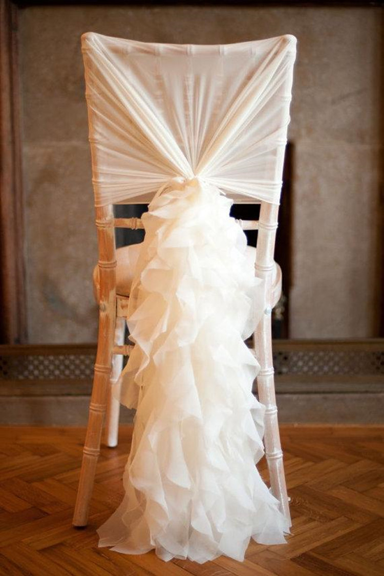 Bamboo wedding chairs - Fashion Chair Sash With 3d Chiffon Delicate Wedding Decorations Bamboo Chair Covers Wedding Accessories Free Shipping