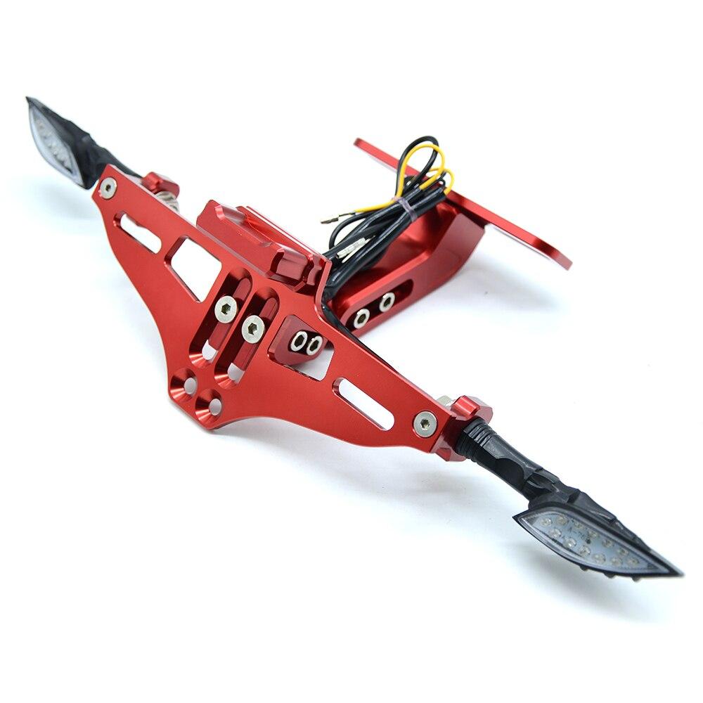 Мотоцикл Номерных Знаков держатель номер светодиодный поворотник для honda vfr 800 mt 03 xt 600 f800r yamaha r15 mt 125 fz6n - Цвет: Красный