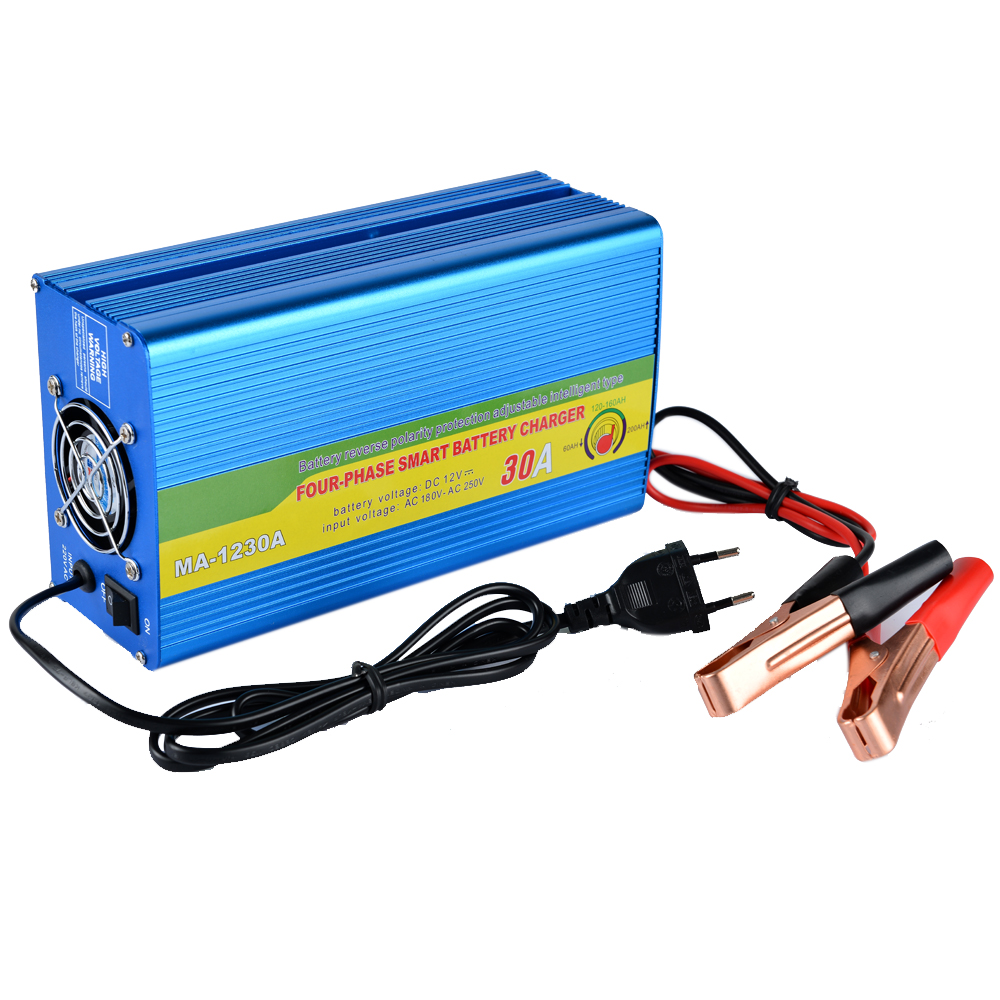 New 220V Input 30A 12V Car Battery Charger Motorcycle Charger 12V Lead Acid Charger EU Plug Battery Charger-in AC/DC Adapters from Home Improvement