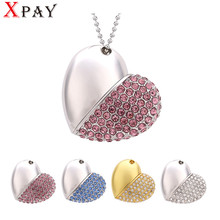 XPAY pen drive  metal keychain 32gb 16gb 8gb 4gb Metal crystal heart usb flash drive pendrive waterproof usb stick Hot