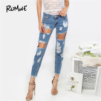 ROMWE Destroyed Cropped Denim Pants Blue Button Fly Low Waist Cropped Woman Trousers 2018 Carrot Ripped
