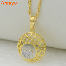 Anniyo Trendy Heart Necklace Pendant Zirconia Chain for Women Gold Color Trinkets Pendants Jewelry #260004(China)