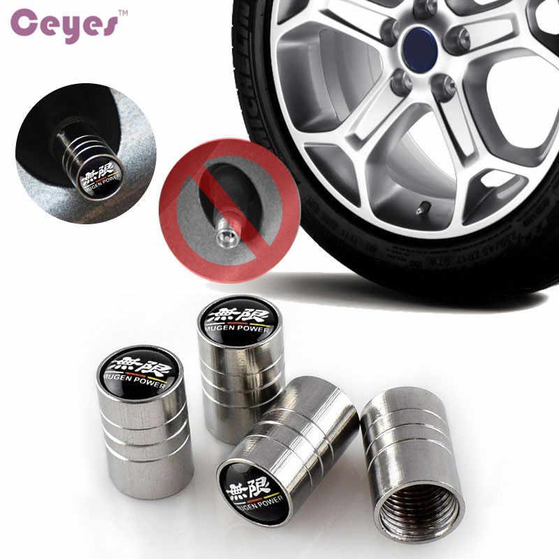 Ceyes estilo do carro válvulas tampas caso para honda mugen cidade de energia crv civic roda de pneu automóvel cobre acessórios do carro-estilo