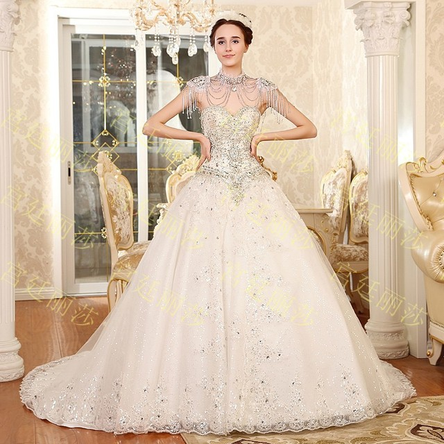 652014 New Crystal Strapless Wedding Dresses Tube Top Lace Up Wedding Gown  Custom Princess Sequin Cute