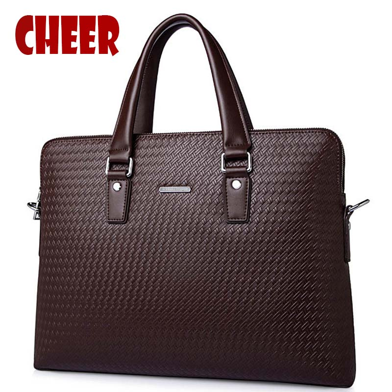 Male bag handbag briefcase school messenger bag men leather Notebook Cross section cowhide woven briefcase business computer bag delin men bag business package men s handbag shoulder bag cowhide briefcase cross section first layer leather bag men s section