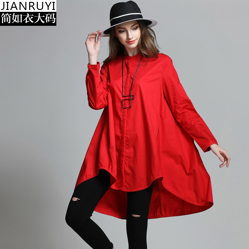 Surdimensionné D'été Femme Irrégulière En Blouses Nouveau La Taille Européenne Manches De Blouse Shirts Femmes Rouge 1 2 Noir Longues 2017 4xl Coton Plus Ony08vmNw
