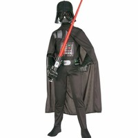 2018 Star Wars Darth Vader Costume For Kids Darth Vader Jumpsuit Black Clothing With Cape Christmas