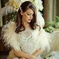 Elegante Champagne Pena Inverno Casacos 2017 Mulheres de Casamento Nupcial Boleros Xailes para vestidos de noite Acessórios Do Casamento B160